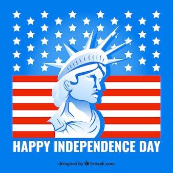 Fundo azul do dia da independência com estátua da liberdade