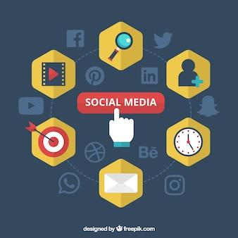 Fundo azul escuro com ícones sociais dos media