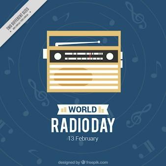 Fundo azul escuro com notas musicais e de rádio