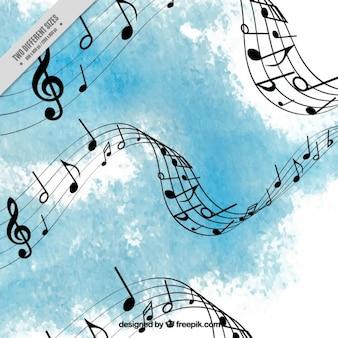 Fundo azul luz música aquarela