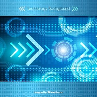 Fundo azul técnico com formas abstratas