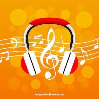 Fundo Bokeh com fones de ouvido e notas musicais