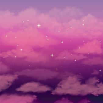 Fundo bonito com céu cor-de-rosa das nuvens