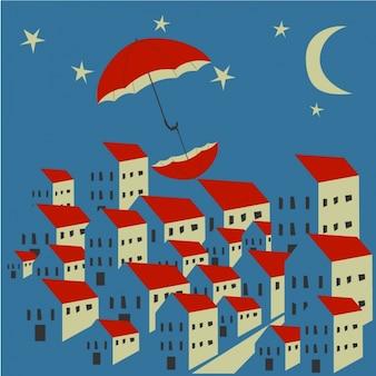 Fundo bonito com dois guarda-chuvas vermelhos e casas