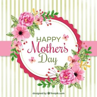 Fundo bonito com flores da aguarela para o dia de mãe