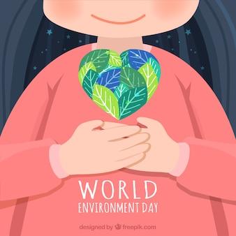 Fundo bonito com miúdo e coração para o dia do ambiente do mundo