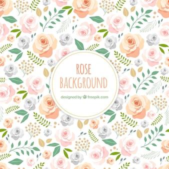 Fundo bonito com rosas desenhadas à mão
