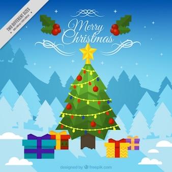 Fundo bonito com uma árvore e presentes de Natal