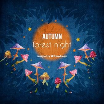 Fundo bonito da aguarela da floresta da noite com cogumelos