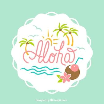 Fundo bonito de aloha com palmeiras e coco