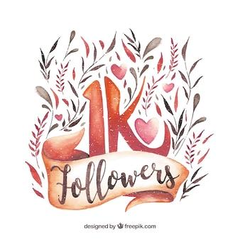 Fundo bonito de seguidores de 1k com flores de aguarela