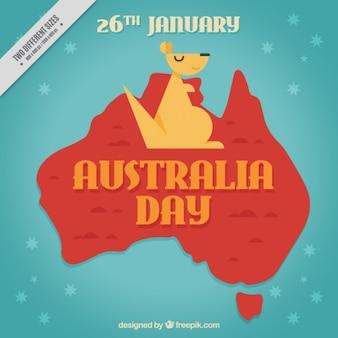 Fundo bonito dia de austrália com canguru geométrica
