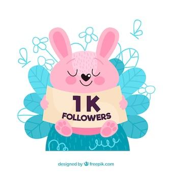 Fundo bonito do coelho com poster de seguidores de 1k