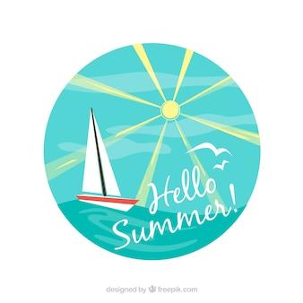 Fundo, bote, velejando, ensolarado, dia