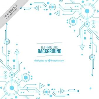 Fundo branco com circuitos azuis