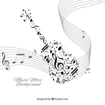 Fundo branco com notas de música preta