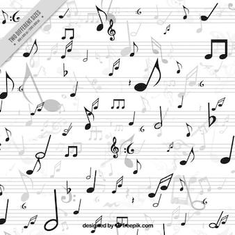 Fundo branco com notas musicais