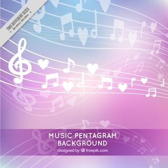 Fundo brilhante com notas musicais e corações
