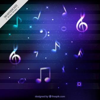 Fundo brilhante com notas musicais