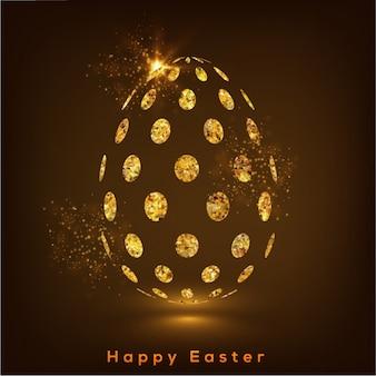 Fundo brilhante com ovo dourado