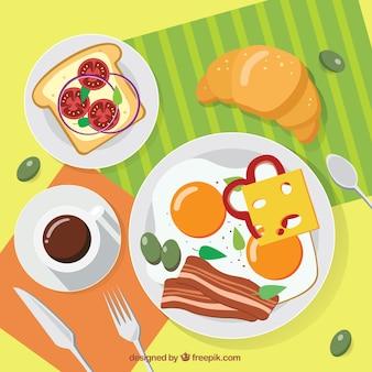 Fundo café da manhã delicioso