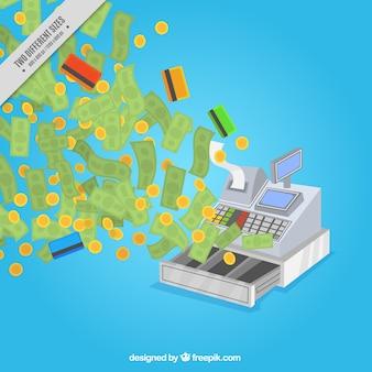 Fundo caixa registadora com dinheiro e cartões de crédito