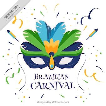Fundo carnaval brasileiro com máscara plano e confetti