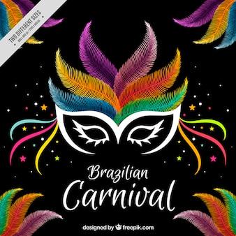 Fundo carnaval com máscara penas coloridas