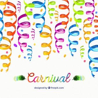 Fundo carnaval com serpentina aguarela