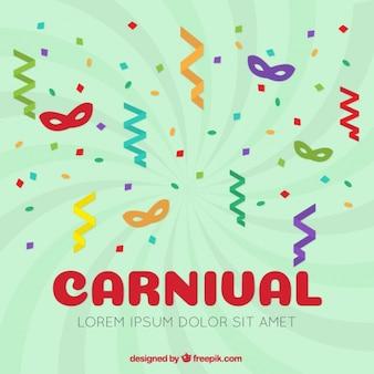 Fundo Carnaval de máscaras coloridas com serpentina