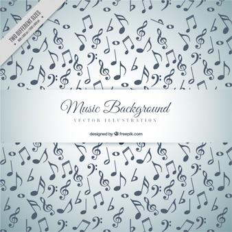 Fundo cinza com cheio de notas musicais
