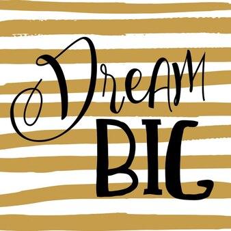 fundo Citação grande em listras desenhadas mão ouro Sonho