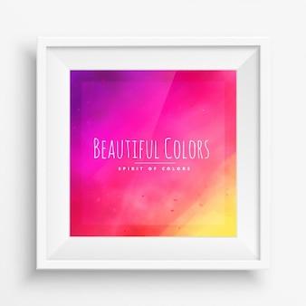Fundo colorido brilhante com moldura branca realista