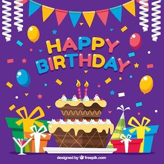 Fundo colorido com decoração e bolo de aniversário