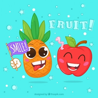 Fundo colorido com frutas felizes