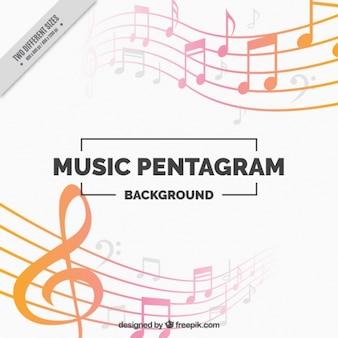 Fundo colorido com notas musicais decorativas