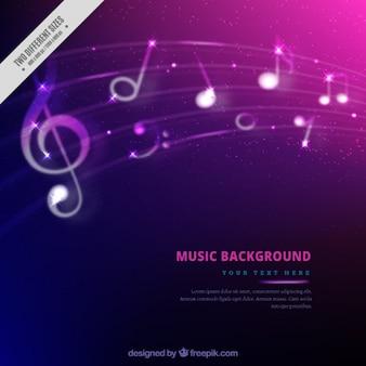Fundo colorido com notas musicais