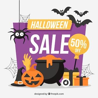 Fundo colorido da venda de Halloween