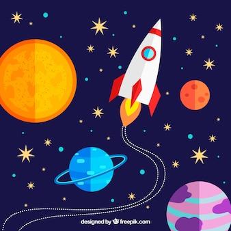 Fundo colorido de foguete e planetas em design plano