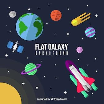 Fundo colorido de galáxia plana