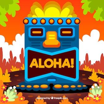 Fundo colorido de totem havaiano em design plano