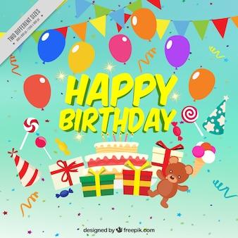 Fundo colorido do aniversário com balões e presentes