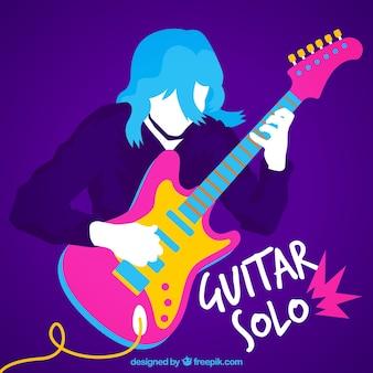 Fundo colorido do guitarrista