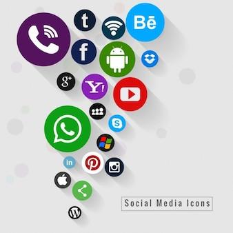 Fundo colorido ícones sociais dos media