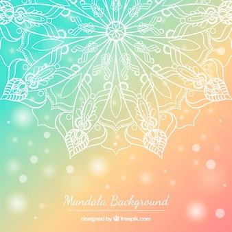 Fundo colorido Pastel com mandala desenhada mão