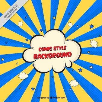 Fundo colorido Sunburst com quadrinhos nuvem