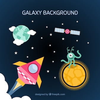 Fundo com alienígena e foguete com outros elementos