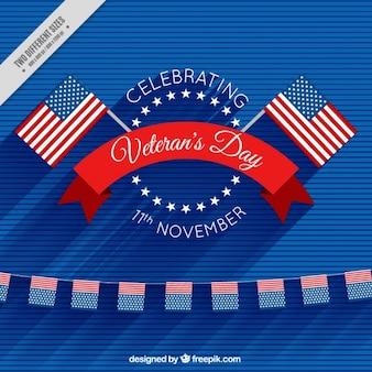 Fundo com bandeiras americanas para comemorar o dia de veteranos