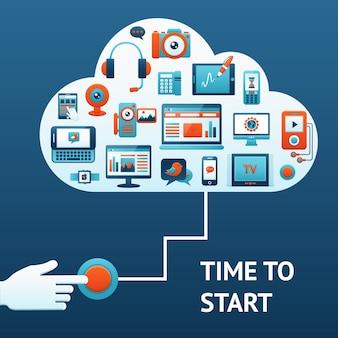 Fundo com botão vermelho e dispositivos tecnológicos