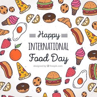 Fundo com desenhos coloridos para o dia mundial de alimentos